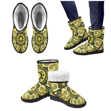 Floral Pattern Custom High Top Unisex Snow Boots (Model 047)