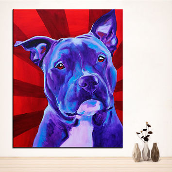 Large size Print Oil Painting pit bull shakti Wall painting Home Decorative Wall Art Picture For Living Room paintng No Frame