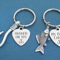2 sets, Hooked on you, My best catch, Fish, Hooks, Heart, Keyring, Combo, Key chain, Birthday, Lovers, Best friend, Gift, Jewelry, Accessory