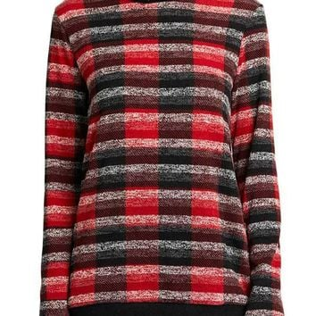 White Birch Buffalo Plaid Turtleneck Top