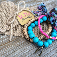 Wishbone Bracelet Stackable Bracelets Beaded Bracelets Stretch Bracelets Lucky Charm Bracelet Turquoise Pink Natural Teen Gift Ready To Ship