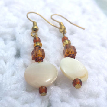 Golden Handmade Shell Beads Dangle Drop Earrings Jewelry Women Gifts Crystal Beads Gifts for Women Gifts for Her Fashion Earrings Boho Gifts