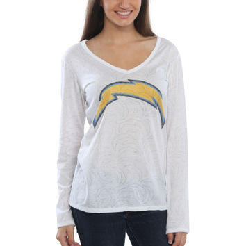 San Diego Chargers Women's Sublime Burnout V-Neck Long Sleeve T-Shirt – White