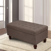 Brown PU Fabric Storage Bench