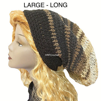 Brown Gray Black Slouchy Beanie | Free USA Shipping | Large | Dreadlocks | Mens Beanie | Locs | Long Hair | Comfortable Fit | Crochet Hat