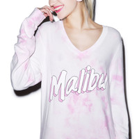 Wildfox Couture Malibu Beach V-Neck Baggy Beach Jumper Pink Watercolor