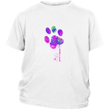 Paint Splatter Paw Print Kid's T-Shirt