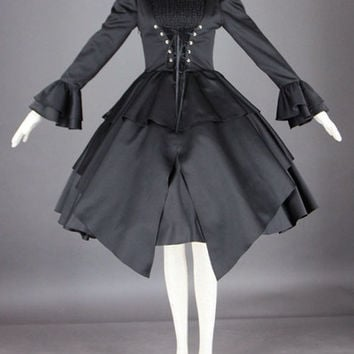 Black Lolita Dress Long Sleeves Front Criss Cross Ribbon Gothic Lolita Costume