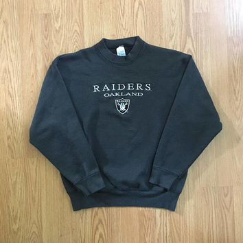 Vintage Oakland Raiders Crewneck Sweatshirt - Large Mens - Salem Sportswear - Vintage Clothing - 90s Clothing - Raider Nation - NFL -