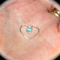 Blue Cats Eye Heart Cartilage Earrings,  Heart Nose Ring, Nose Hoop, Helix Hoop, Nose Rings, Seamless Hoop Piercing Jewelry