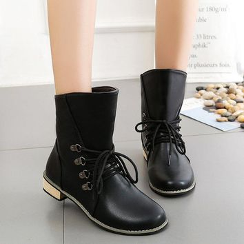 Round Toe Lace Up Low Chunky Heel Loose Short Boots