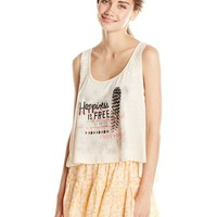 Eyeshadow Junior's Happiness Print Sleeveless Swing Tank Top