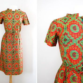 Vintage '60s Ethnic Print Silk Satin Secretary Wiggle Dress - Midi Length Pencil Skirt Dress - Size Small to Medium