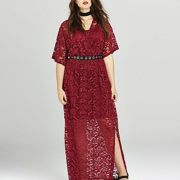 Simply Be Berry Lace Wrap Maxi Dress | SimplyBe US Site