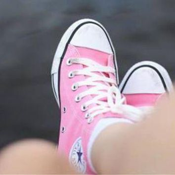 CREYUG7 Converse All Star Sneakers canvas shoes for Unisex sports shoes high-top pink