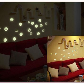 Cartoon Home Decals Decor Glow In The Dark Wall Sticker Smiling Face