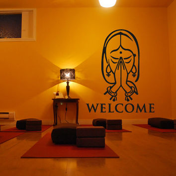 Wall decal decor decals sticker art design vinyl yoga studio inscription welcome India squaw pose hall Buddhism (m1136)