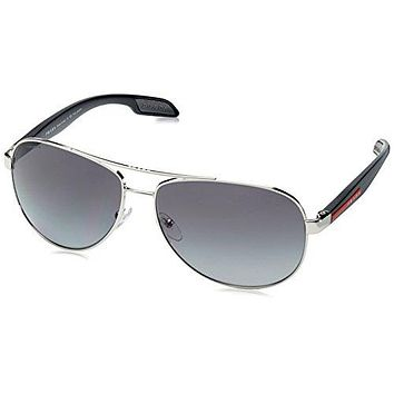 Prada Sport PS53PS 1BC5W1 Grey Steel Benbow Aviator Sunglasses Polarised Lens C