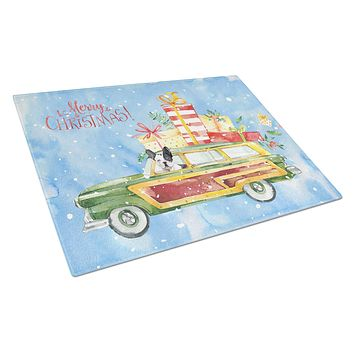 Merry Christmas French Bulldog Glass Cutting Board Large CK2444LCB