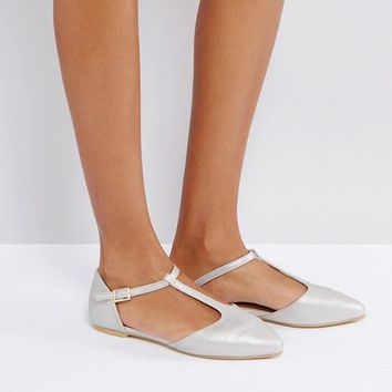 London Rebel T-Bar Flat Point Shoes at asos.com