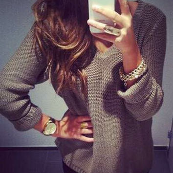Casual Grey V-Neck Long Sleeve Loose-Fitting Solid Color Sweater