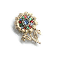 Large Colorful Cabochon Sunflower Brooch Pin, In Gold Tone With Clear Rhinestones, Over 3 Inches High
