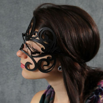 Swirly leather mask in black for glasses by TomBanwell on Etsy