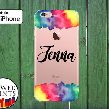 Cursive Name Monogram Rainbow Watercolor Custom Tumblr Clear Case iPhone 5/5s and 5c and iPhone 6 and 6 + and iPhone 6s iPhone SE iPhone 7 +