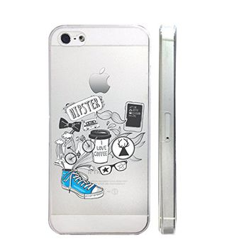 Hipster Style Slim Iphone 5 5S Case, Clear Transparent Iphone 5 5S Hard Cover Case For Apple Iphone 5/5S -Emerishop