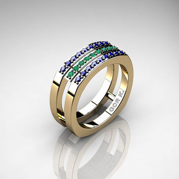 Mens Modern Classic 14K Yellow Gold Blue Sapphire Emerald Cluster Formal Ring G1004-14KYGEMBS