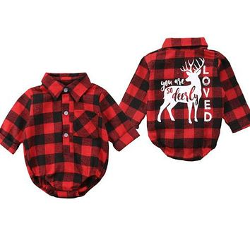 Xmas Infant Newborn Baby Girls Boys Christmas Long Sleeve Blouse Plaid Deer Romper Outfit Clothes