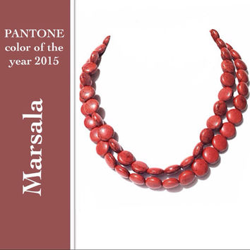 Marsala necklace - statement necklace, 2015 jewelry, bridesmaids necklace, 2 strand - statement necklace, pantone 2015 color of year, beaded