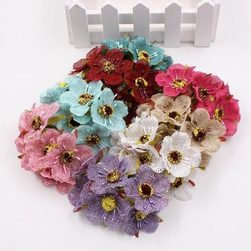 6pcs/lot 4cm Hemp Sakura Flower Artificial Flower Bouquet Wedding House Decorative DIY Wreath Scrapbook Gift Box Hand Flower