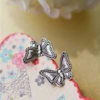 MagicPieces Women's Vintage Butterfly Shape Stud Earrings Birthday Gift FDP 0704