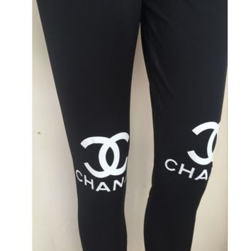 Double C letter printing cotton sports fitness leggings