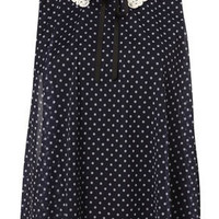 Navy Polka Dot Crochet Collar Swing Top - Prim  Polished  - Designers  Collections  - Topshop