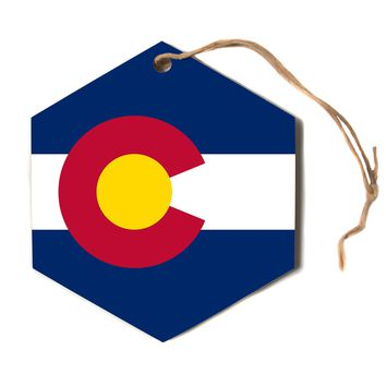 "Bruce Stanfield ""Flag of Colorado"" Blue Red Hexagon Holiday Ornament"