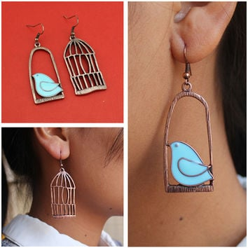 Vintage Earrings Fashion Designer Oil Bird Alloy Bird-Cage Lovely Drop Earring For Women Brincos De Gota Feminino ZF14