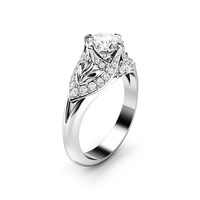 Moissanite Engagement Ring 14K White Gold Ring Edwardian Engagement Ring Gold Moissanite Ring