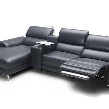 Divani Casa Juniper - Modern Full Leather Sectional Sofa With Recline