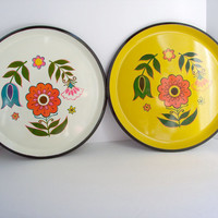 Vintage Laquerware Trays in Bright Sunny Yellow and White and Black with Danish Mod Design