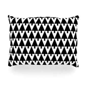 "Gabriela Fuente ""Happy X-Mas Black & White"" Geometric Monotone Oblong Pillow"