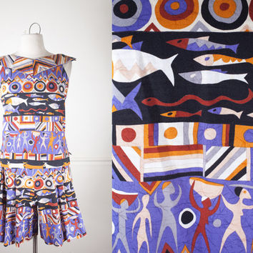 1980s Tribal Print Outfit / High Waisted Shorts / 80s Romper / Novelty Print Blouse / Ethnic Print Shorts / Fish Print / 90s Grunge Shorts