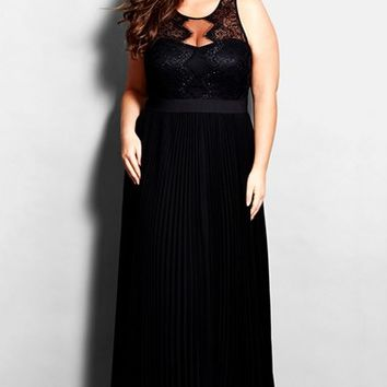Plus Size Women's City Chic 'Vanity' Lace Detail Pleated Gown,