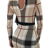 Plaid Mesh Front Sexy Long Sleeve Bodycon Dress (1)