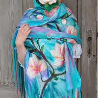 Impressive nuno felted scarf with magnolia flowers motif and long fringe. OOAK