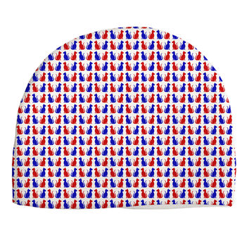 Patriotic Cat Pattern Child Fleece Beanie Cap Hat All Over Print
