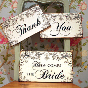 Here comes the bride sign, Last Chance to Run Sign, wedding decor, pageboy / flower girl sign, Photo Prop, Thank You Sign, Wedding Thank You