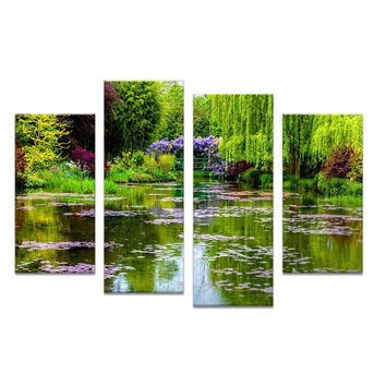 4pcs claude monets garten Wall painting print on canvas for home decor ideas paints on wall pictures qq1343