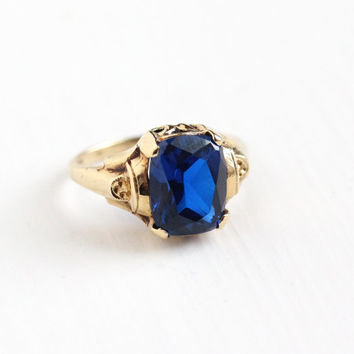 Sale - Vintage 10k Rosy Yellow Gold Created Dark Blue Spinel Ring - 1950s Retro Size 4 1/2 Cobalt Stone September Birthstone Fine Jewelry